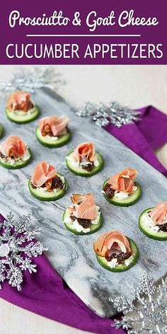 These easy cucumber appetizers are guaranteed to disappear in a flash. Goat cheese, prosciutto and fig jam add fantastic flavor. 24 calories and 1 Weight Watchers Freestyle SP #goatcheese #appetizerrecipes