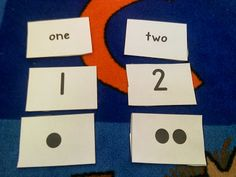 Early Number Sense: have students match the number word, numeral and dot card. Do whole group in the beginning of the year