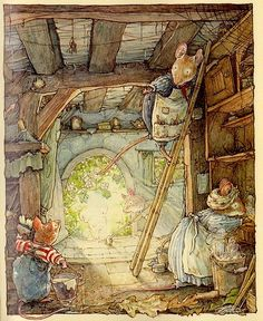 Brambly Hedge by Jill Barklem (Poppy's Babies) with nothing more than line and watercolor. Love the texture here. Art And Illustration, Beatrix Potter Illustrations, Book Illustrations, Alfabeto Animal, Brambly Hedge, Motifs Animal, Hedges, Illustrators, Book Art