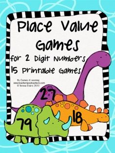 Place Value Games for 2 Digit Numbers by Games 4 Learning - This is a set of 15 printable Place Value Games for 2 Digit Numbers. Includes math board games, I Have Who Has games and card games. $