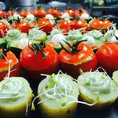 Tomates cerise au crabe, Pommes de terre wasabi.