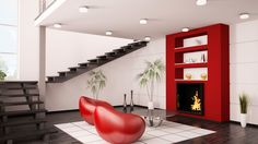 Decorar salón en rojo, negro y gris - Estilo moderno