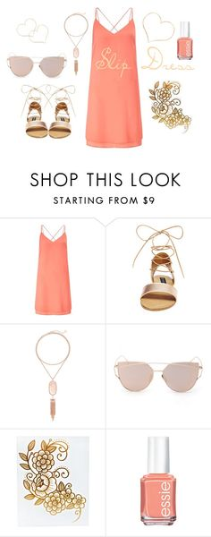"""""""Slip Dress"""" by freckled-gypsy on Polyvore featuring Miss Selfridge, Steve Madden, Kendra Scott and Essie"""