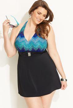 Shimmering Halter Swim Dress | Plus Size View all Swim | Avenue