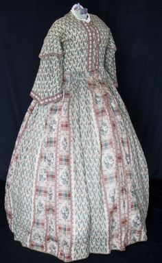 "Challis Gown C 1860'S | eBay seller arlava100; printed challis with pagoda sleeves, dress has wear, repair & slight alterations to size, some period repairs, some later, particularly at waistband & hooks & eyes; repair at underarms & light staining; bust: 38""; waist: 32"", length from neck to hem: 61""; hem circumference: 134"""