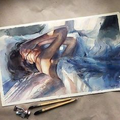 Fascinating watercolor painting by Mayorova Anna (@mayooroova). Very  beautiful!