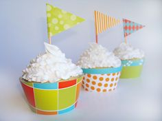 INSTANT DOWNLOAD Carnival Cupcake Wrapper PDF by SassyDean on Etsy. These printable cupcake wrappers and cute flag toppers would be cute for almost any occasion. Bright and colorful for the perfect party.