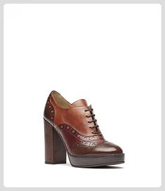 015187a07e7 PoiLei Aida - Damen-Schuhe / exklusive Budapester Plateau-Schnürschuhe aus  Echt-Leder - mit hohem Block-Absatz und Front-Schnürung - braun - Stiefel  für ...