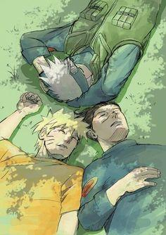 Iruka, Naruto, and Kakashi