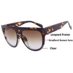 Fashion Sunglasses Women Flat Top Style Brand Design Vintage Sun glasses Female Rivet Shades Big Frame Shades UV400