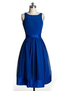 Audrey Hepburn Style Boat Neck Classic Blue Knee Length Bridesmaid Dress