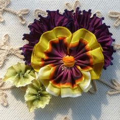 French Ombré Ribbon Pansy With Vintage French Ribbons