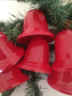 christmas 1960s 6 vintage red plastic bell light covers for c7 lamps