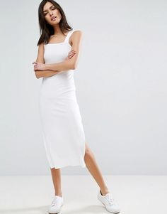 ASOS White Square Neck Column Midi Ribbed Vest Dress with Wide Straps