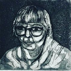 Drawn from a live sitter directly onto the cardboard plate. a quick sketch in Collagraph by Clare Morgan