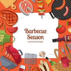 Vector Illustration with Barbecue or Grill Cooking - Vector EPS