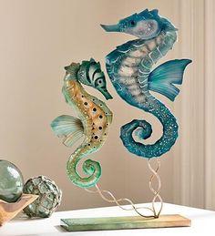Our Seahorse Duo Iron And Capiz Shell Sculpture is carefully created of galvanized iron, wood. Coastal Style, Coastal Decor, Seaside Decor, Coastal Living, Seahorse Art, Seahorses, Dream Beach Houses, Sea Dragon, Sea Art