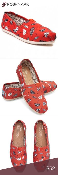 🍾sale🍾Toms-Red Canvas Umbrella Print Toms for Women: Classic Red Canvas Umbrella Print -  Featuring a bold weather pattern, these slip-ons will spice up your ensemble, rain or shine. Canvas upper with TOMS toe-stitch Suede insole with arch insert for added support One-piece mixed-rubber outsole for resilience, flexibility and durability TOMS heel patch TOMS Shoes