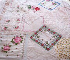 VINTAGE HANKY chenille THROW blanket handkerchief shabby chic cottage roses pinks new beauty ooak. $59.95, via Etsy.