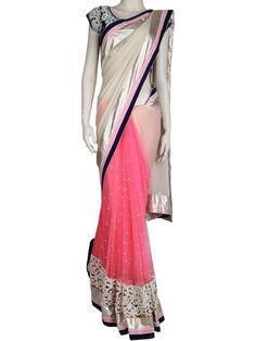 G3 Fashions Glamorous pink net half and half saree Products code: G3-WSA2367 Price: ₹ 21695.00