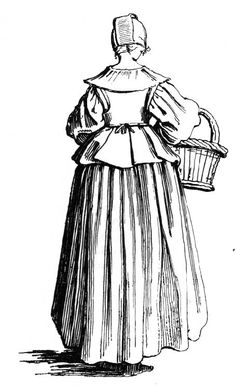 This plain dress lady wears a bodice and skirt combination as an alternative to… 17th Century Clothing, 17th Century Fashion, 18th Century, Baroque Fashion, French Fashion, Vintage Fashion, Historical Costume, Historical Clothing, Tableaux Vivants