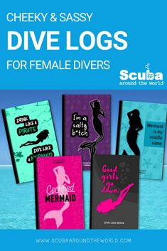 Check out this new series of fun scuba log books for female divers who don't take themselves too seriously. With cheeky covers and well-thought-out log pages. For all of the good girls that love to go down, mermaids that drink like pirates and all the salty b*tches out there! #divelogbook #girlsthatscuba #scuba #divelog #humor #divehumor #scubaaroundtheworld