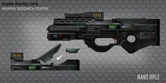 Nano rifle design by weihao Sci Fi Weapons, Weapon Concept Art, Future Weapons, Suit Of Armor, Assault Rifle, Shadowrun, Sci Fi Fantasy, Airsoft, Character Concept