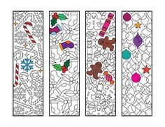 Christmas Bookmarks PDF Zentangle Coloring Page - candy canes, snowflakes, holly, stockings, gingerbread man, candy, ornaments, stars