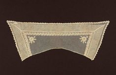Museum of Fine Arts, Boston: Collar. 1800s/ 19th century. Ground: ecru machine-made net. Design: running vine single flowers in each corner and scalloped edge, worked in chain stitch with ecru cotton.