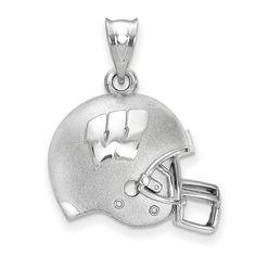 Wisconsin Badgers Sterling Silver 3D Football Helmet Pendant | Logo Art | SS505UWI
