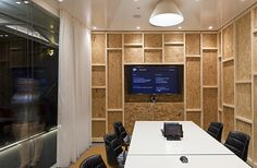 Wall idea. substitute moulding and cab grade paneling. Youtube_Office_in_London (14)