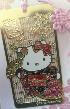 Hello kitty New rare bookmark Japan Limited Sanrio Strap Kimono Folding Fan