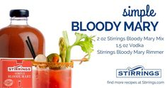 No matter what you put around the rim of the glass, you can't go wrong with what's in it when you pour a Stirrings Simple Bloody Mary! off Stirrings products until code: Allure Flooring, Bloody Mary Mix, Brand Campaign, Heavenly, Vodka, Food And Drink, Canning, Star, Fruit
