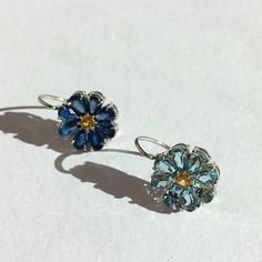 Blue Sapphire baby, Blue Sapphire flower earrings handmade by Ricardo Basta Fine Jewelry | sapphire earring, blue earrings, flower earrings