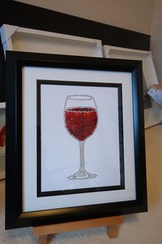 Wine glass made with buttons, beads and diamontes