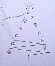 Paper Embroidery How Form-A-Lines stitching cards are made View Christmas tree stitching card Christmas Tree Pattern, Christmas Cards To Make, Christmas Diy, Christmas Baubles, Xmas Tree, Embroidery Cards, Embroidery Patterns, Paper Embroidery Tutorial, Flower Embroidery