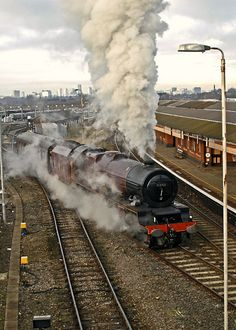 Lizzie joining the mainline at Tyseley 6201 Princess Elizabeth starts a light engine movement to Southall ahead of tomorrows excursion from Paddington to Worcester