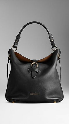 Black Medium Buckle Detail Leather Hobo Bag - Image 1