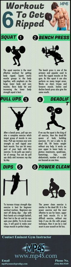 MP45 provide the complete information on how to get ripped in 45 day workout program. According to your daily schedule and ability we make a best workout to get ripped. We included only effective and primary exercise in your workout gym plan i.e squat, de
