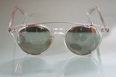 c537acb6c00 Clear Round Vintage Prescription Glasses by Polaroid with Clip On Sunglasses