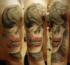 Snake tattoo on shoulder black and grey by Aleksandr Set Snake Tattoo, Shoulder Tattoo, Tattoo Photos, Tattoo Artists, Black And Grey, Skull, Tattoos, School, Cobra Tattoo