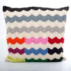 Anne Claire Petit handmade crochet zig zag cushion