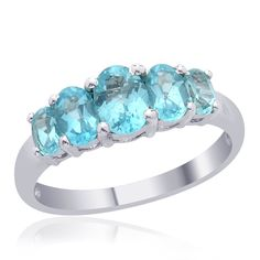 Liquidation Channel | Madagascar Paraiba Apatite 5-Stone Ring in Platinum Overlay Sterling Silver (Nickel Free)