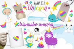 Create a pretty I wanna be a unicorns and rainbows party with these clipart, perfect for birthdays, invitations, scrapbooking, girl's room and more. Includes many wannabe unicorns and a baby as well as matching icons and more.