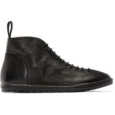 Mars�ll Gomma Black Leather Sancrispa Lace-Up Boots (24,530 PHP) ❤ liked on Polyvore featuring men's fashion, men's shoes, men's boots, mens black leather shoes, mens leather shoes, mens black boots, marsell mens shoes and mens leather lace up shoes