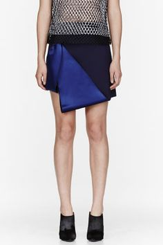 Dion Lee Blue Satin & Wool Sail Tux Mini Skirt for women | SSENSE