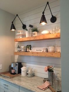 If you are looking for Fixer Upper Farmhouse Kitchen Design Ideas, You come to the right place. Here are the Fixer Upper Farmhouse Kitchen Desig. Floating Shelves Kitchen, Rustic Shelves, Open Shelving In Kitchen, Wall Mounted Kitchen Shelves, Reclaimed Wood Shelves, Open Shelves, Coffee Bar Home, Coffee Bar Design, Coffee Nook