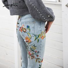 92367fb1dd0 Click Image to Buy  Simplee Floral embroidery jeans woman Casual high waist  jeans pants Light blue denim pencil pants women trousers 2018 spring ~  Click the ...