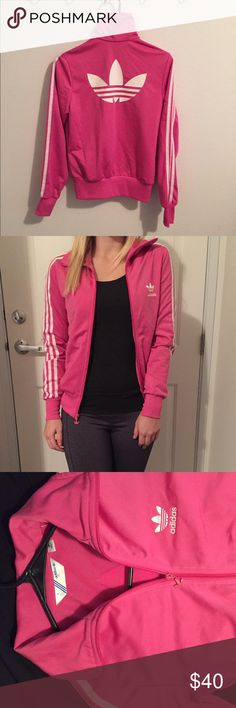 ⚡️Adidas Zip Up Jacket Pink Small Barely worn! Very nice 100% polyester Adidas zip-up jacket with 2 pockets that have zippers. Pink colored. Size is small. It is super comfortable and has the big logo in the back, which completes this piece. Has one very very little tear mark on left sleeve but can hardly tell as seen in last picture. Adidas Jackets & Coats