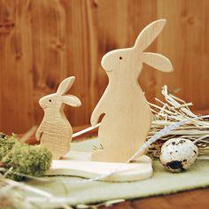 Hasen aus Zirbenholz, schöne Osterdeko und Geschenkidee